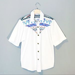 Vintage   White Western Short Sleeve Button Up Top